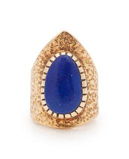 Charles Loloma(HOPI, 1921-1991)Gold and Lapis Ring