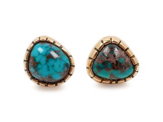 Charles Loloma (HOPI, 1921-1991) Gold and Turquoise Earrings