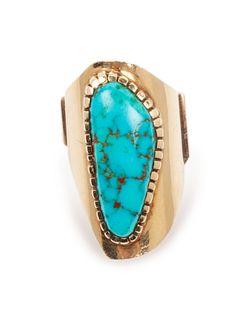 Charles Loloma (HOPI, 1921-1991) 14k Gold and Turquoise Ring