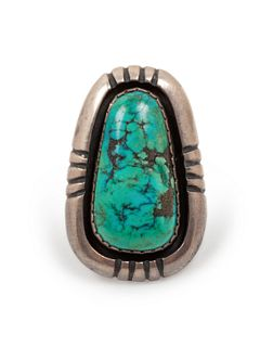 Julian Lovato (KEWA, b. 1922) Sterling Silver and Turquoise Ring