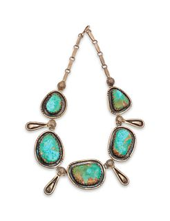 Julian Lovato  (KEWA, b. 1922) Sterling Silver and Blue Gem Turquoise Necklace