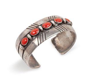 Julian Lovato (KEWA, B. 1922) Sterling Silver and Coral Cuff Bracelet