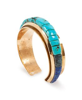 Victor Beck (DINE, B. 1941) 14k Gold, Turquoise, and Lapis Inlay Cuff Bracelet