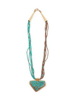 Larry Golsh (PALA MISSION / CHEROKEE, B. 1942) Rolled Turquoise and Heishi Multi-Strand Necklace, with 14k Gold and Turquoise Pendant