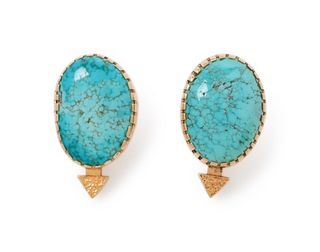 Gail Bird and Yazzie Johnson (DINE, B. 1946 and 1949) 18k Gold and Turquoise Earrings