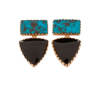 Gail Bird and Yazzie Johnson (DINE, B. 1949 and B. 1946) 14k Gold, Turquoise, and Onyx Earrings