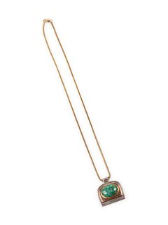 Yazzie Johnson (DINE, B. 1946) Turquoise, Silver, and Gold Pendant, on a 14k Gold Chain