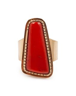 Yazzie Johnson (DINE, B. 1946) 14k Gold and Coral Ring