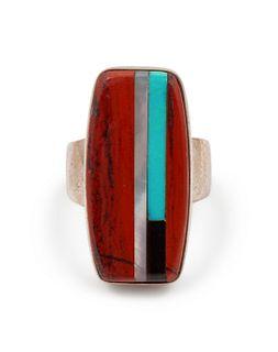 Richard Chavez (SAN FELIPE, B. 1949) Silver and Multi-Stone Inlay Ring