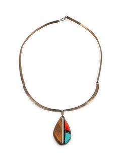 Richard Chavez (SAN FELIPE, B. 1949) Silver Choker with Ironwood, Turquoise, and Coral Inlay Pendant