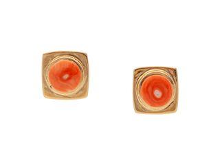 Verma Nequatewa, Sonwai (HOPI, B. 1946) 18k Gold and Coral Earrings