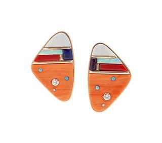 Jesse Monongya  (HOPI / DINE, B. 1952) Gold Earrings, set with Opal, Coral, Lapis, and Diamonds