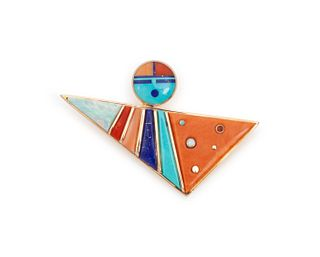 Jesse Monongya  (HOPI / DINE, B. 1952) Gold Abstract Figural Brooch, set with Turquoise Coral, Opal and Lapis