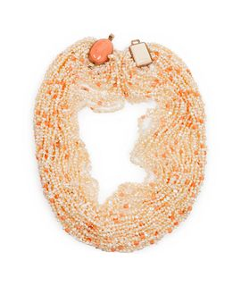 Gail Bird and Yazzie Johnson (DINE, B. 1949 and B. 1946) 14k Gold, Pearl, and Coral Multi-Strand Necklace