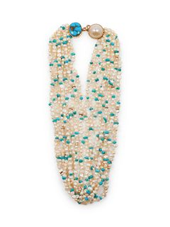 Gail Bird and Yazzie Johnson (DINE, B. 1949 and B. 1946) 14k Gold, Pearl, and Turquoise Multi-Strand Necklace