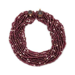 Gail Bird and Yazzie Johnson (DINE, B. 1949 and B. 1946) 14k Gold and Garnet Multi-Strand Necklace