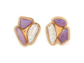 Gail Bird and Yazzie Johnson (DINE, B. 1946 and B. 1949) 14k Gold Earrings, with Inlaid Stones