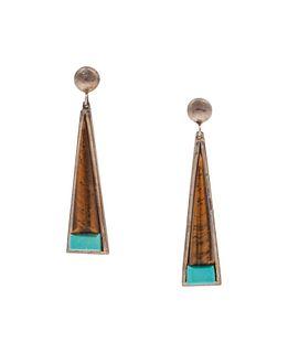 Richard Chavez (SAN FELIPE, B. 1949) Silver, Ironwood, and Turquoise Earrings