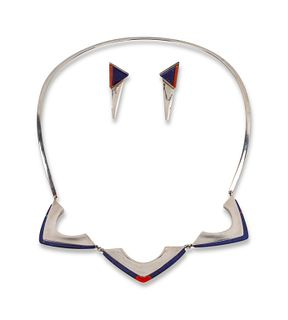 Richard Chavez (SAN FELIPE, B. 1949) Sterling Silver Necklace and Earrings Set, with Coral and Lapis Inlay