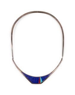 Richard Chavez (SAN FELIPE, B. 1949) Silver Choker with Lapis, Coral, and Turquoise Mosaic Inlay