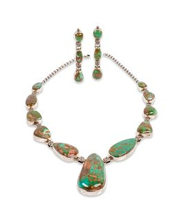Curtis Pete (DINE, 20TH CENTURY) Sterling Silver and Royston Turquoise Necklace and Earrings Set