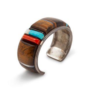 Richard Chavez (SAN FELIPE, B. 1949) Silver and Multi-Stone Inlay Cuff Bracelet