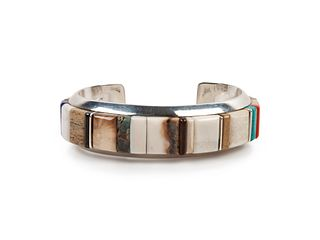 Wes Willie (DINE, B. 1957) Silver Cuff Bracelet with Turquoise, Coral, and Lapis Cobblestone Inlay