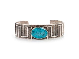 Al Nez (DINE, B. 1959) Sterling Silver Tufa Cast and Lone Mountain Turquoise Cuff Bracelet
