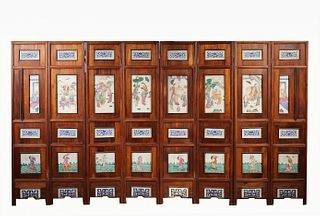 Qing 8-Panel Chinese Porcelain Folding Screen