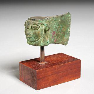 Pre-Columbian bronze figural axe head, ex-Komor