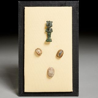 (3) Egyptian scarabs and bronze amulet, ex-museum