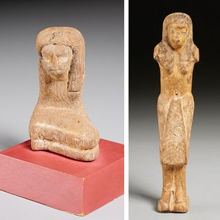 (2) Ancient Egyptian wood figures, ex-museum