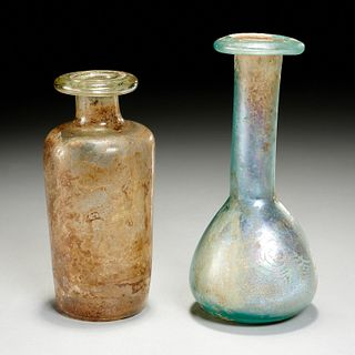 (2) Roman glass Unguentarium bottles, ex-museum