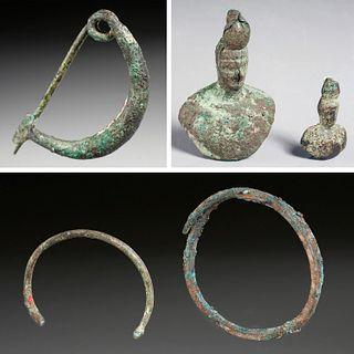Roman Fibula pin, weights, & bracelets, ex-museum