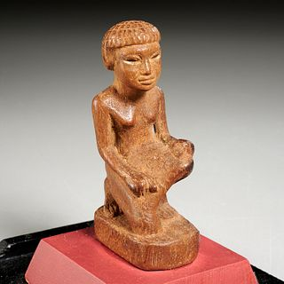 Ancient Egyptian carved kneeling woman, ex-museum