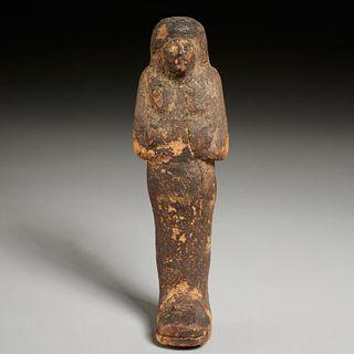 Large Egyptian carved wood Ushabti, ex-museum