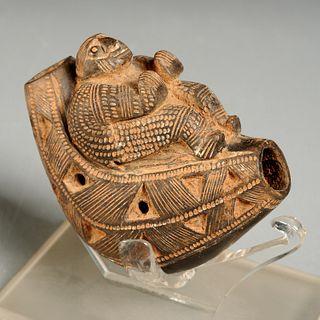 Fine Pre-Columbian pottery ocarina or pipe
