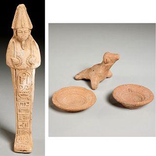 Egyptian whistle, (2) bowls, & Ushabti, ex-museum