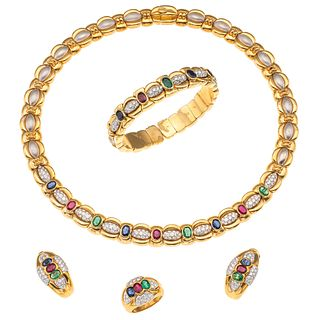 CHOKER, BRACELET, RING AND EARRINGS SET WITH EMERALDS, RUBYS, SAPPHIRES AND DIAMONDS. 18K YELLOW AND WHITE GOLD
