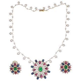 CHOKER AND EARRINGS SET WITH EMERALDS, RUBYS, SAPPHIRES AND DIAMONDS. 18K AND 14K WHITE AND YELLOW GOLD