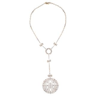 CULTURED PEARLS AND DIAMONDS CHOCKER.  18K WHITE AND YELLOW GOLD