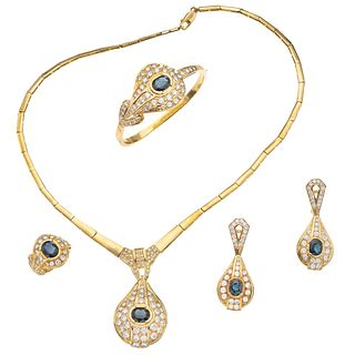 CHOKER, BRACELET, RING AND EARRINGS  SET WITH SAPPHIRES AND DIAMONDS. 18K AND 14K YELLOW GOLD