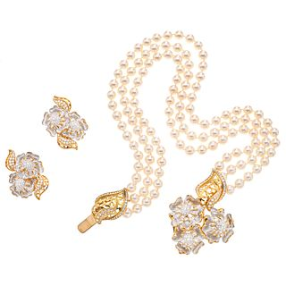 CHOKER AND EARRINGS SET WITH CULTURED PEARLS AND DIAMONDS. 18K AND 14K YELLOW AND WHITE GOLD