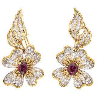 RUBIES AND DIAMONDS EARRINGS. 18K AND 14K WHITE AND YELLOW GOLD