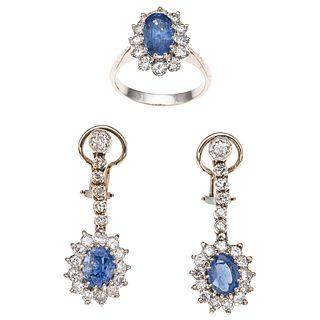 RING AND EARRINGS SET WITH SAPPHIRES AND DIAMONDS. PALLADIUM SILVER