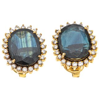 EARRINGS WITH SAPPHIRES AND DIAMONDS. 14K AND 18K YELLOW GOLD