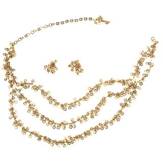 NECKLACE AND EARRINGS SET. 18K YELLOW GOLD. CHIMENTO
