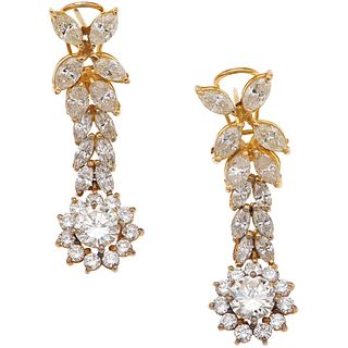 DIAMONDS EARRINGS. 14K AND 10K YELLOW GOLD