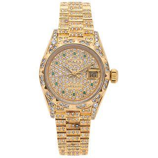 ROLEX DATEJUST WITH DIAMONDS. 18K YELLOW GOLD. REF. 69178