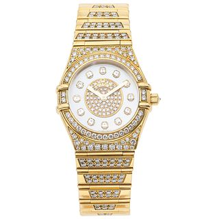 OMEGA WITH DIAMONDS. 18K YELLOW GOLD